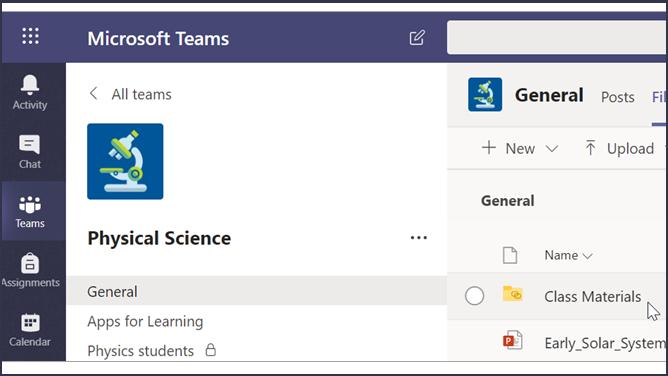 لقطة شاشة لفصل دراسي في Teams