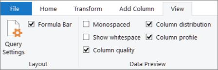 """خيارات تعريف البيانات علي علامة التبويب """"عرض"""" في شريط محرر Power Query"""