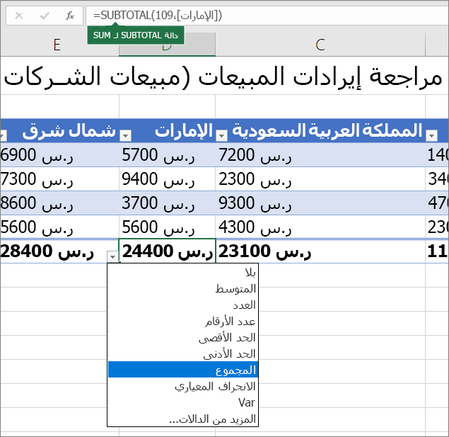 """مثال لتحديد صيغه صف الإجمالي من القائمة المنسدلة """"إجمالي الصفوف"""""""