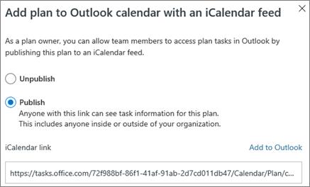 """لقطه شاشه لمربع الحوار """"أضافه تخطيط إلى تقويم Outlook"""""""