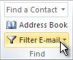"""الأمر """"تصفية البريد إلكتروني"""" على الشريط"""
