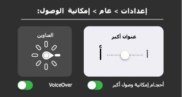 إمكانية وصول ذوي الاحتياجات الخاصة العامة: إعدادات VoiceOver والنص الكبير
