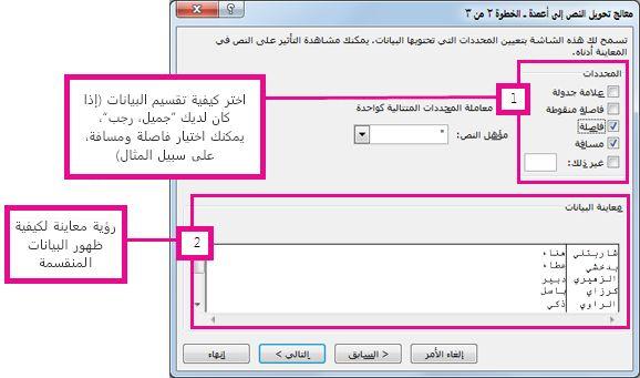 """الخطوة 2 في """"معالج تحويل النص إلى أعمدة"""""""