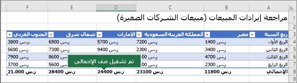 جدول Excel مع تشغيل صف الإجمالي