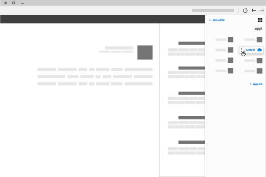 نافذه مستعرض مع مشغل تطبيق Office 365 المفتوح وتطبيق OneDrive مميز