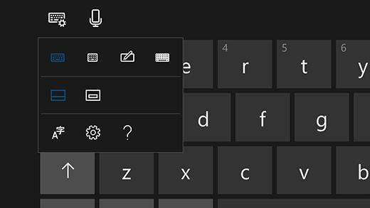 لوحة إعدادات لوحة المفاتيح التي تعمل باللمس