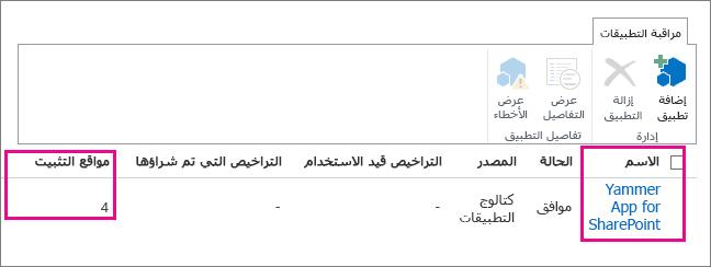 مراقبة تطبيق Yammer لـ SharePoint لمعرفة عدد مثيلات التطبيق المثبتة في مستأجر Office 365
