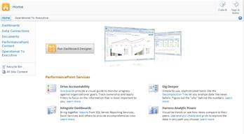 قالب موقع PerformancePoint، الذي يسهّل عليك معرفة المزيد عن PerformancePoint Services وتشغيل مصمم لوحة معلومات PerformancePoint