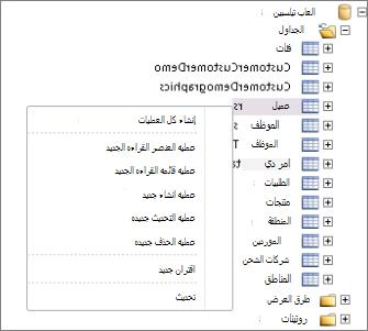 لقطة شاشة تُظهر قاعدة بيانات Tailspintoys في SharePoint Designer. إذا قمت بالنقر بزر الماوس الأيمن فوق اسم الجدول، فستظهر قائمة يمكنك أن تحدد منها العمليات التي ترغب في إنشائها.