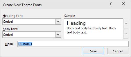 مربع الحوار خطوط مخصصة في Powerpoint