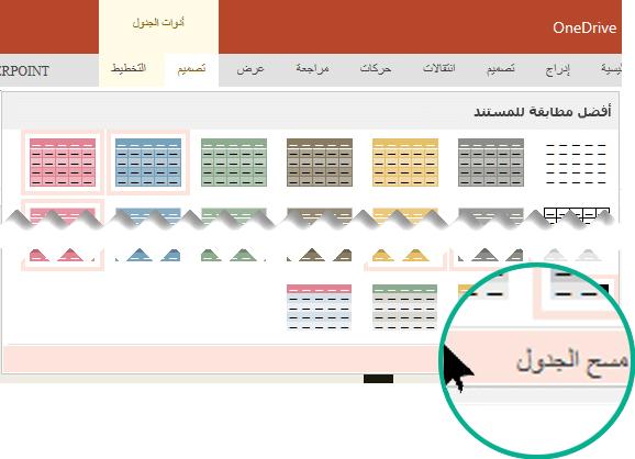 """ازاله نمط جدول ب# استخدام الامر """"مسح الجدول""""."""