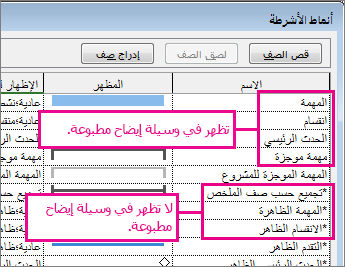مربع حوار نمط شريط غير نشط يعرض أشرطة سيتم تضمينها في الطباعة أو لا