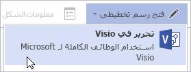 الأمر «فتح رسم تخطيطي، تحرير في Visio»