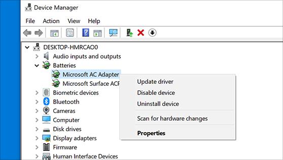 تحديث برامج التشغيل في Windows 10