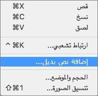 قائمة السياق عند إضافة نص بديل إلى صورة في Outlook.