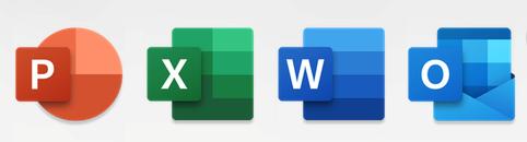 أيقونات تطبيقات Outlook وWord وExcel وPowerPoint