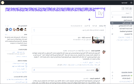 Yammer مؤشرات الحدث مباشره عند استخدام Yammer علي ويب