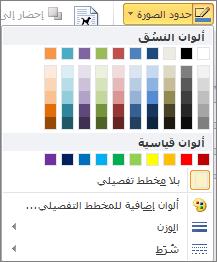 قائمة حدود الصورة في Outlook 2010