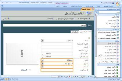 تعديل قالب قاعدة بيانات الأصول