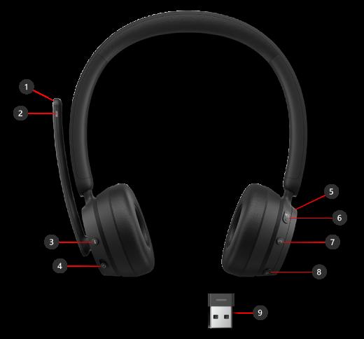 الأزرار والقرص على سماعة الرأس اللاسلكية الحديثة من Microsoft بالإضافة إلى Microsoft USB Link