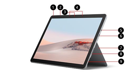 Surface Go 2 مع أرقام تحدد كل ميزة.