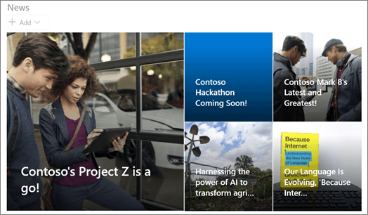 """جزء ويب """"تخطيط الإطارات المتجانبة للأخبار"""" في SharePoint"""