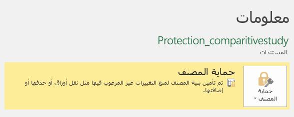 """حماية حاله المصنف المميزة في علامة التبويب """"معلومات"""""""