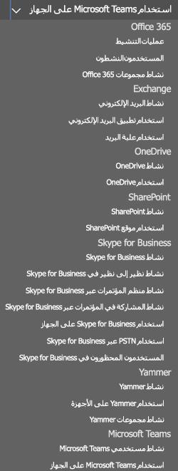 تحديد تقرير - أنشطة مستخدمي Microsoft Teams.