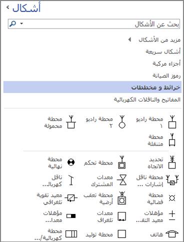 لقطة شاشة لجزء الأشكال لرسم تخطيطي هندسي كهربائي.