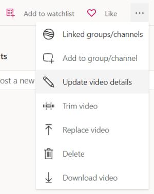"""تحديث تفاصيل الفيديو من قائمة """"المزيد"""""""