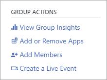 """القائمة """"إجراءات المجموعة"""" تعرض إنشاء حدث مباشر"""