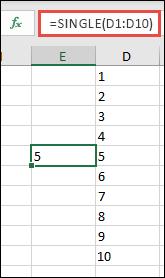 مثال الدالة SINGLE باستخدام = SINGLE (D1: D10)