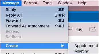 إنشاء حدث من بريد الكتروني في Outlook for Mac.
