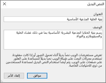 """لقطة شاشة لمربع الحوار """"النص البديل"""" في OneNote مع نصوص نموذجية في الحقول """"العنوان"""" و""""الوصف""""."""