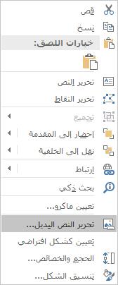 قائمة Win32 Excel تحرير نص بديل للأشكال