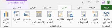 """علامة التبويب """"تقرير"""" في Project 2013"""
