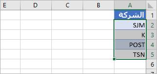تم تحديد الخلايا التي تحتوي على رموز مؤشر الأسهم