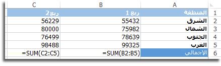 الصيغ المرئية في ورقة بيانات Excel