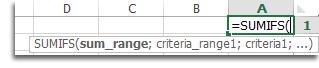 استخدام الإكمال التلقائي للصيغ لإدخال الدالة SUMIFS