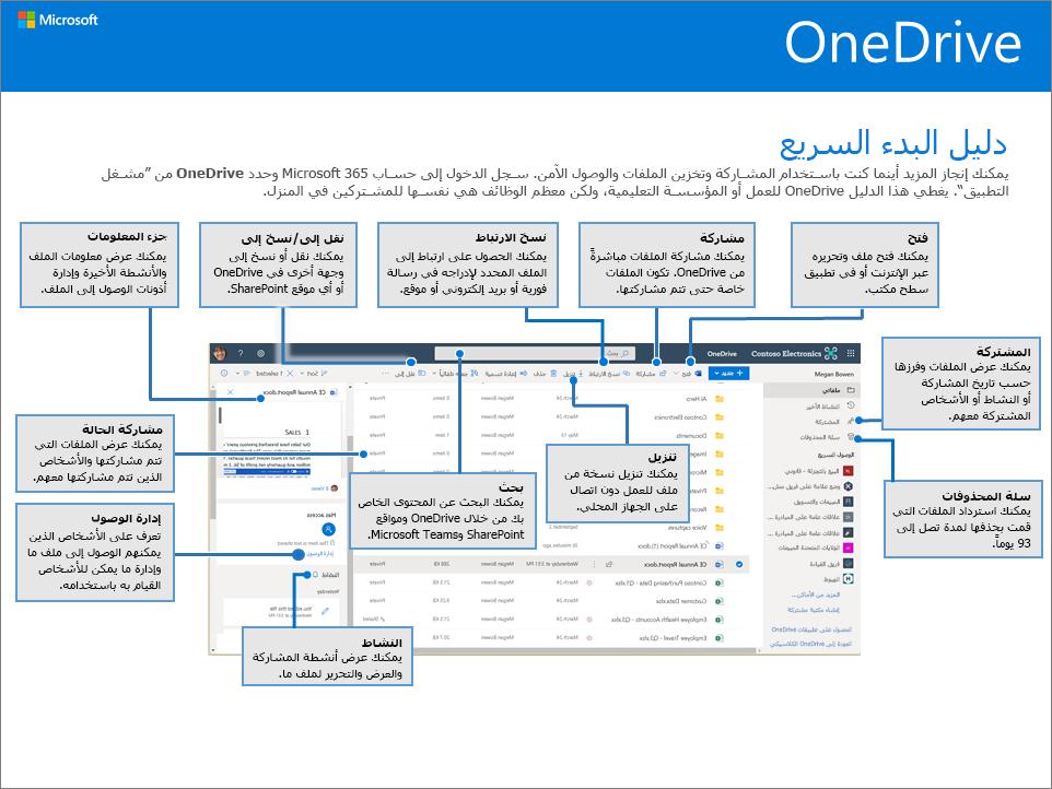 دليل التشغيل السريع لـ OneDrive