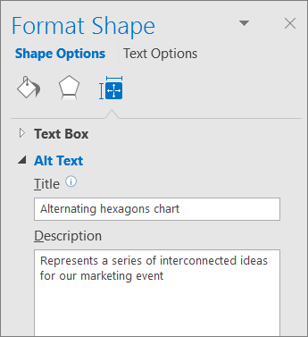 """Екранна снимка на областта за алтернативен текст на екрана """"Форматиране на фигура"""", описваща избраната графика SmartArt"""