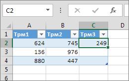 Въвеждането на стойност в клетка отдясно на таблицата добавя колона