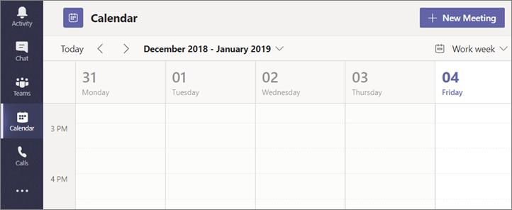 """Изберете """"Календар"""", след което изберете """"Ново събрание"""""""