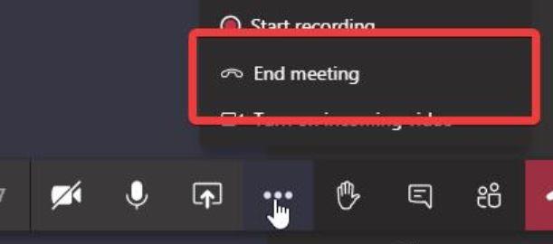 Екранна снимка на бутона за край на събранието на Teams