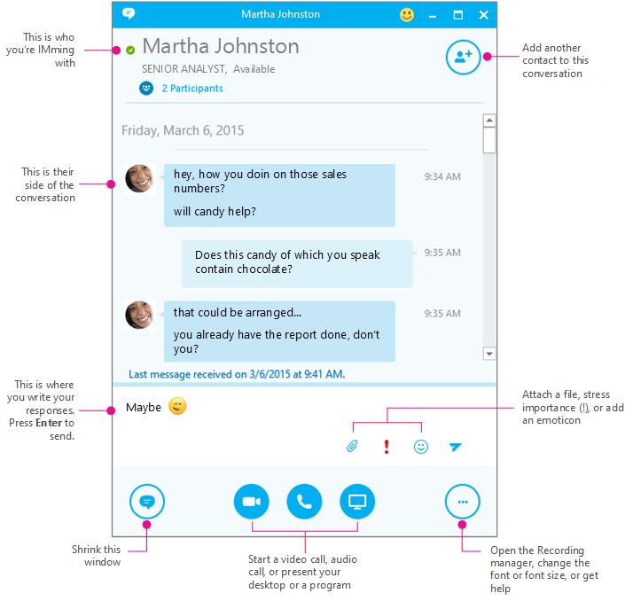 Схематично представен екран за незабавни съобщения на Skype за бизнеса