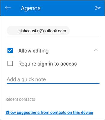Екранна снимка на поканване на хора за споделяне на файл от OneDrive за Android