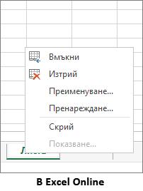 разделът на лист няма опция за копиране.