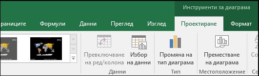 Инструменти на лентата за диаграма с карта на Excel