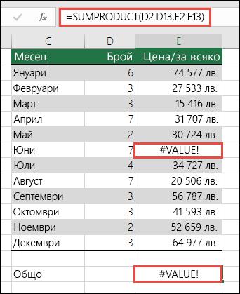 Формулата в клетка E15 показва грешка #VALUE!, тъй като има грешка #VALUE! в колона E.
