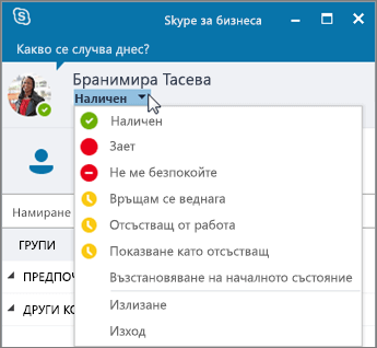 Екранна снимка на прозореца на Skype за бизнеса с отворено меню за състояние.